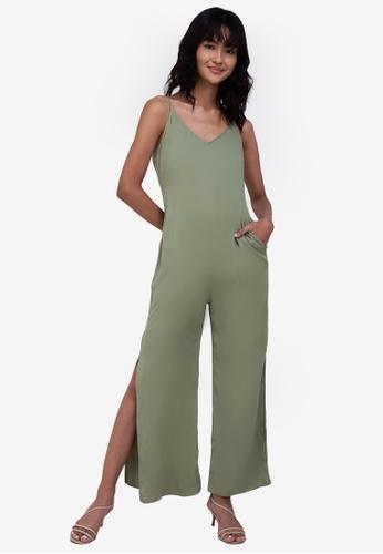 ZALORA BASICS green Side Slit Cami Jumpsuit B4982AA9C6E9FEGS_1