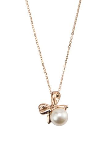 蝴蝶結珍珠吊飾項鍊, 飾品esprit home 台灣配件, 項鍊