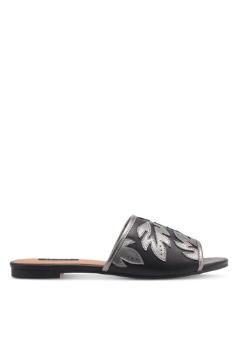 ZALORA black Leaf Detail Slip-On Sandals 9AA2DSH90700CBGS_1