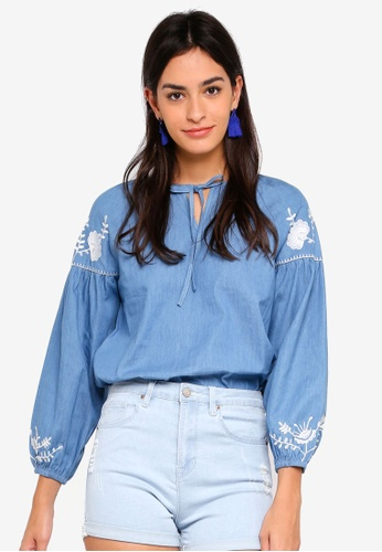 ZALORA blue Puff Sleeves Top with Embroidery 0379EAA10BF0DAGS_1