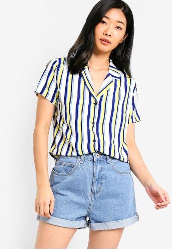 Something Borrowed white and multi Resort Shirt 4E70DAA36855E5GS_1