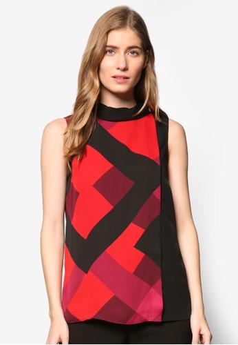 Fran Hero 格紋印花裹飾zalora時尚購物網評價層次無袖上衣, 服飾, 上衣