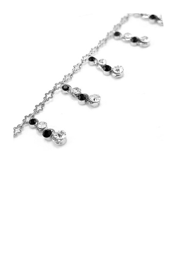Glamorousky silver Simple Anklet with Silver and Black Austrian Element Crystals 1D844AC9CFD8DAGS_1