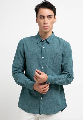 Giordano green Men's Linen Shirt 397FBAA3550AD4GS_1