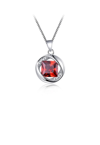 Glamorousky red 925 Sterling Silver January Birthday Pendant with Red Cubic Zircon and Necklace F7A08AC18AC48BGS_1