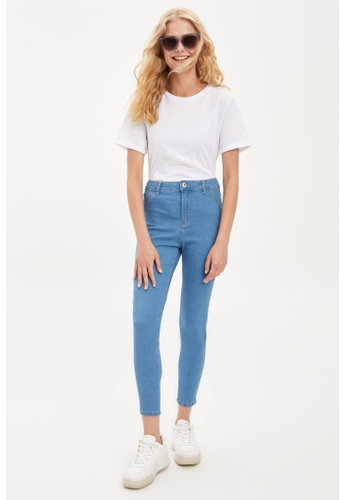 DeFacto 藍色 High Waist Super Skinny Jeans 1B04AAAFBAC06AGS_1