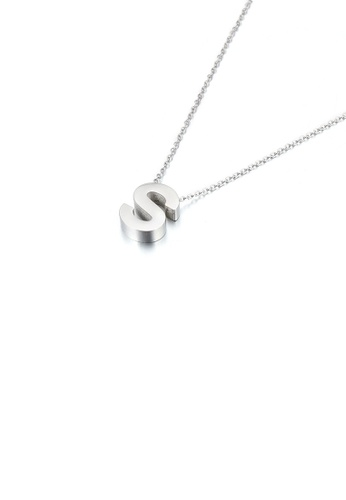 Glamorousky silver Simple Temperament English Alphabet S 316L Stainless Steel Pendant with Necklace 1AF51ACC94B6A4GS_1