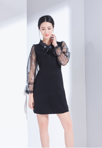 Zafiti black Chiffon Splicing Knitting Dress E7D2FAA6614BF8GS_1