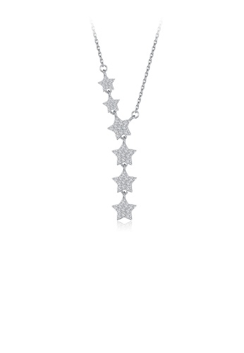 Glamorousky white 925 Sterling Silver Sparkling Star Necklace with Cubic Zircon 2E3A8ACC555076GS_1