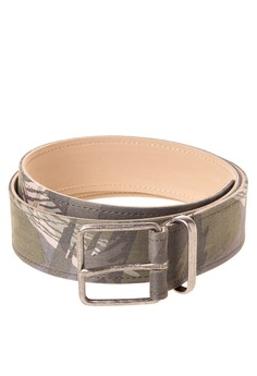 40mm Camo Twill Panel On Wire Thin Buckle and Loop Belt