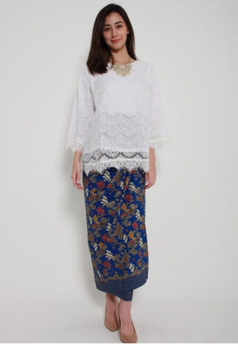 Naphthys Collection red and blue and multi and gold Batik Skirt/Sarong DEC34AACE727ABGS_1
