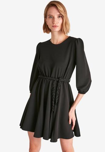 Trendyol black Braid Belted Flounce Dress E50D1AA2919CDFGS_1