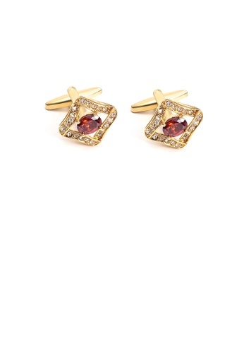 Glamorousky red Fashion and Elegant Plated Gold Geometric Diamond Cufflinks with Red Cubic Zirconia 0173FAC4696E03GS_1