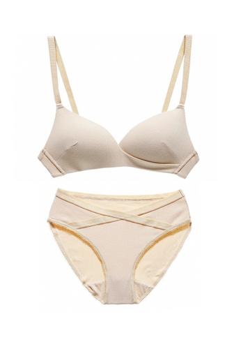 ZITIQUE beige Women's Summer Simple Design Wireless Triangle Cup Thin Pad Cotton Lingerie Set (Bra And Underwear) - Beige 9C220USA60A998GS_1