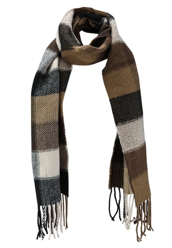 Only & Sons brown Carlo Check Scarf FD423ACC7A174EGS_1
