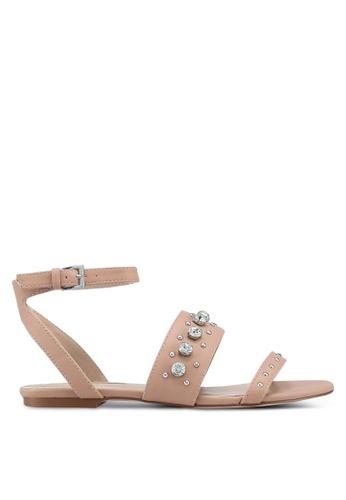 Miss KG 褐色 鑽飾繞帶涼鞋 3E2BCSHF035445GS_1