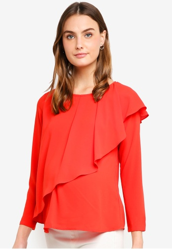 Spring Maternity red Maternity Long Sleeves Chessa Top 7D654AA9B20BD0GS_1
