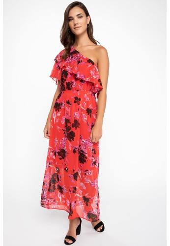 DeFacto 紅色 Single Sleeve Maxi Dress 4A25AAA6B5C9C0GS_1