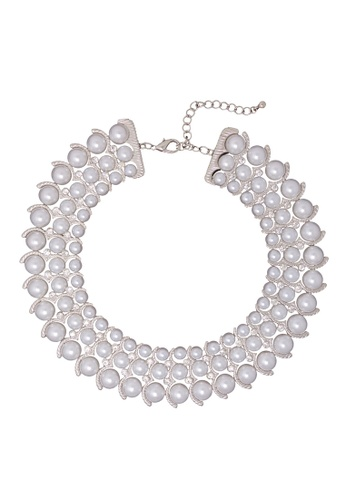 Jaysa Collection silver Empress Silver Pearls Statement Necklace With Crystals 773DBAC9ABEA55GS_1