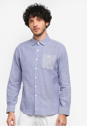 JAXON blue Mix Stripe Long Sleeves Shirt 4E844AA62E3D3AGS_1