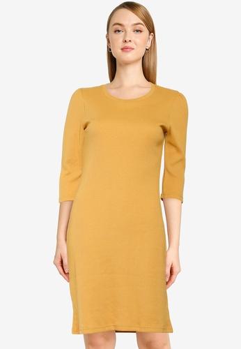 UniqTee yellow Gathered Sleeve Straight Dress 2E09AAA14AE806GS_1