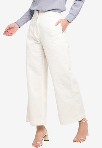 ZALIA BASICS white Canvas Wide Leg Pants 7E97EAA6A8CF9BGS_1