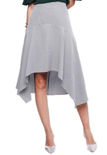 Nichii black Pencil Stripe Asymmetrical Skirt AFB84AA7840555GS_1