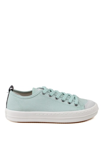 J.DAUL 綠色 經典厚底真皮帆布休閒鞋 JD556SH09Q5RTW_1