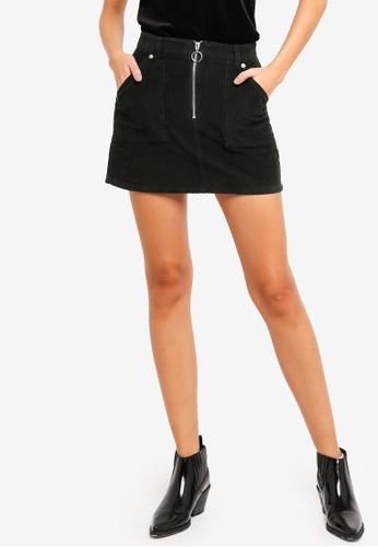 TOPSHOP green S19: Cord Zip Skirt 00FAAAAA96D67EGS_1