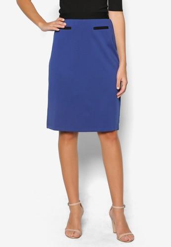 彈性色塊鉛筆短裙, 服飾, 裙zalora鞋子
