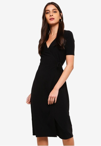 ZALORA black Wrapped Rib Dress 8EF69AA156ED21GS_1