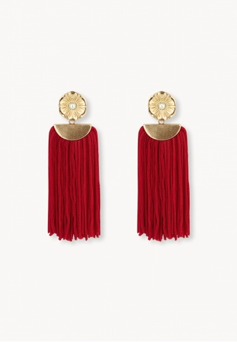 Pomelo red Flower Tassel Drop Earrings - Red 52325AC580E770GS_1