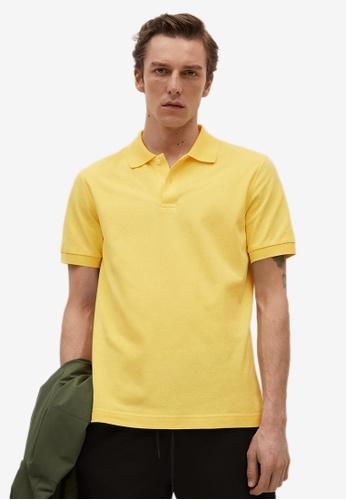 MANGO Man yellow Technical Cotton Piqué Polo Shirt 8158EAA2245596GS_1