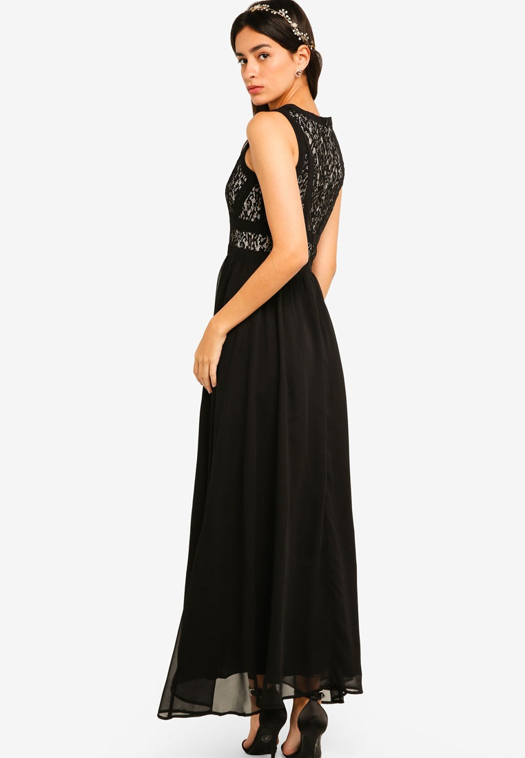 Maxi Lace Dress Panel Black Bridesmaid ZALORA 6xEg0fwqq