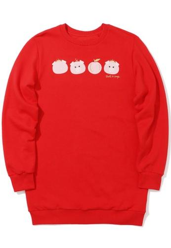 tout à coup red Piglet print sweatshirt D6B02AA659C4C9GS_1