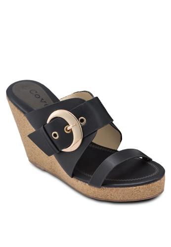 Cesprit 品牌ovet 扣環雙帶楔型跟涼鞋, 女鞋, 楔形涼鞋