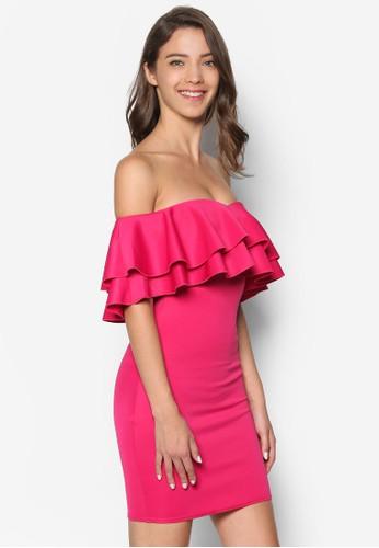 層esprit au次荷葉露肩貼身連身裙, 服飾, 洋裝