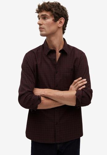 Mango Man red Regular Fit Checked Flannel Shirt 4AAACAA61DC1ACGS_1