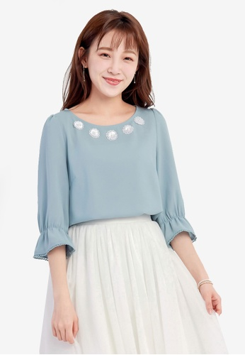 YOCO blue Ruffled Blouse with Floral Embroidery Detail C9153AA7540AE4GS_1