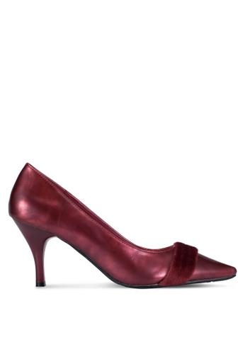 DMK red Contrasted Pointed Pump Heels DM860SH0RG1BMY_1