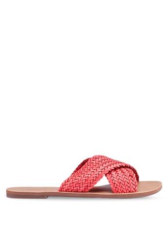 Anacapri 紅色 編織交叉繞帶涼鞋 F3F0ASH082315EGS_1
