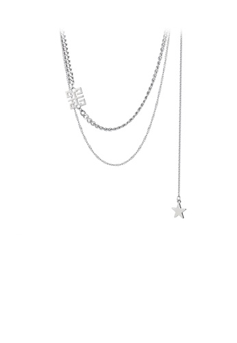 Glamorousky silver Fashion Personality Geometric Pattern Tassel Star 316L Stainless Steel Double Layer Necklace BC943ACB1F3D45GS_1