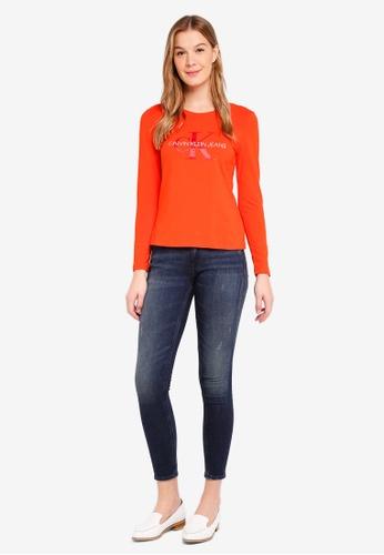 Calvin Klein red A-Satin Monogram Long Sleeve Tee - Calvin Klein Jeans 6BB49AA2796D07GS_1