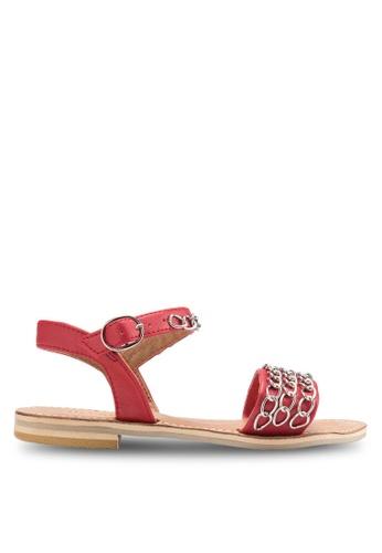 Sulima red and silver Fara Chain Sandals SU915SH65GHIMY_1
