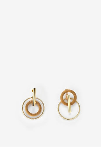 MONDAY EDITION gold and brown Wood and Bar Earrings C6A9EAC6061940GS_1