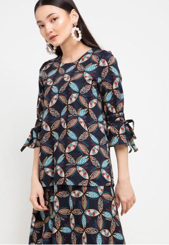 Batik Solo multi Long Sleeve Cotton Print Blouse 58788AAFE551E8GS_1