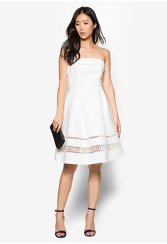 Premium Lace Insert Fit And Flare Dress