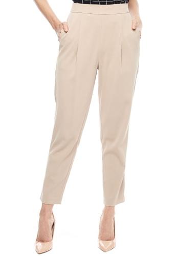 Nichii beige Basic Pegged Pants 1394FAABD18728GS_1