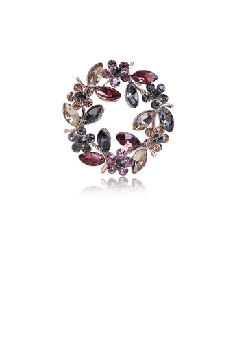 Glamorousky silver Fashion and Elegant Plated Gold Color Flower Brooch with Cubic Zirconia 3CBE1AC373E770GS_1