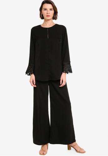 Zalia black Lace Trim Top And Pants Set 88511AAAAD5454GS_1